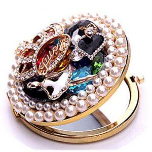 EVTECH-TM-3D-Bling-miroir-de-maquillage-miroir-de-poche-en-cristal-cosmtique-miroir-rond-grossissant-maquillage-de-luxe--New-100-fait-main-0