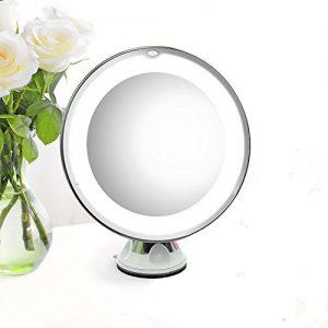 Elechomes-EB601-Miroir-de-Maquillage-Rglable-avec-un-Grossissement-de-7X-et-un-Miroir-de-Poche-Blanc-0