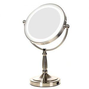 HIMRY-LED-8-Pouces-Lumineux-Miroir-mince-cosmtique-sur-pied-Assisi-Grossissant-x10--piles-ou-avec-prise-franaise-Double-Face-avec-normale-et-Grossissant-x10-360-degrs-rotation-KXD3139-10x-0