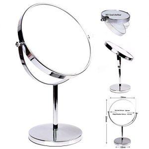 HIMRY-Miroir-Maquillage-10X-Grossissement--20-cm-Miroir-de-Table-Double-Visage-Miroir-de-salle-de-bain-Tournant-Miroir-de-Rasage-orientable-sur-360-chromage-KXD3108-10x-0