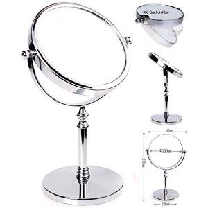 HIMRY-Miroir-Maquillage-5X-Grossissement--147-cm-Miroir-de-Table-Double-Visage-Miroir-de-salle-de-bain-Tournant-Miroir-de-Rasage-orientable-sur-360-chromage-KXD3106-5x-0