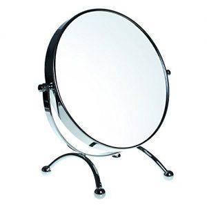 HIMRY-Miroir-Maquillage-7X-Grossissement--20-cm-Miroir-sur-Pieds-Double-Visage-Miroir-de-salle-de-bain-Tournant-Miroir-de-Rasage-orientable-sur-360-chromage-KXD3118-7x-0