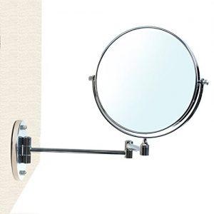 HIMRY-Miroir-de-Maquillage-10X-Grossissement--20-cm-Sans-Forage-ou-Avec-le-Forage-Pliable-Miroir-de-salle-de-bain-Double-Visage-Miroir-de-Mural-Tournant-Miroir-de-Rasage-chromage-KXD3107-10x-0