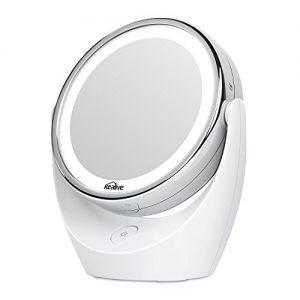 Kealive-Miroir-Maquillage-Double-Face-LED-Miroir-Lumineux-1X-5X-Miroir-Grossissant-avec-la-Rotation-360-Degrs-pour-la-Beaut-le-Chambre-le-Rasage-et-le-Voyage-Blanc-0