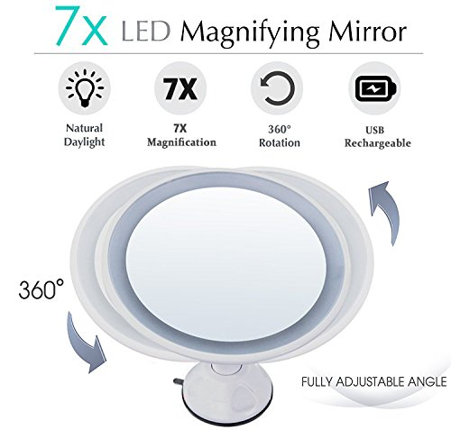 achat led miroir de maquillage miroir cosm tique clair lumineux grossissant x 7. Black Bedroom Furniture Sets. Home Design Ideas
