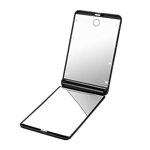 PLEMO-Miroir-Lumineux-de-Poche-pour-Maquillage-Cosmtique-Portable-Deux-Visages-Pliables-Grossissant-1x-et-2x-Eclairage-8-LED-avec-Piles-Noir-0