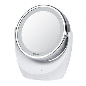 Spaire-Miroir-Maquillage-10X-1X-LED-Double-Face-Miroir-Grossissant-Lumineux-avec-la-Rotation-360-Degrs-Wireless-pour-Cosmtique-Soin-de-Peau-Chambre-et-Voyage-avec-Batterie-0