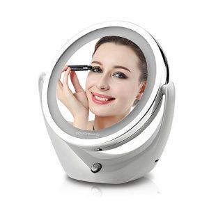TOUCHBeauty-TB-1276-LED-Miroir-de-Maquillage-Lumineux-Rechargeable-Grossissant-X1-et-X5-Double-Face-Rotatif--360-avec-cble-USB-0