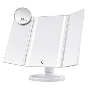 Jerrybox-Miroir-Triptyque-de-Maquillage-Eclairage-Naturel--16-LED-Ecran-Tactile-Rechargeable-via-Port-Micro-USB-Ajustable-sur-180-pour-Un-Maquillage-Parfait-Miroir-Triptyque-0