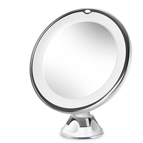 Beautural-Miroir-de-Maquillage-Grossissant-Lumineux-10x-LED-avec-1-Joint–Bille-et-Ventouse-360-Rotation-Ajustable-Fonctionne-avec-des-Piles-0