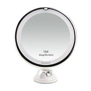 Auxent-Miroir-de-maquillage-clairage-LED-grossissement-X10-miroir-cosmtique-clair-avec-ventouse-rotation--360-degrs-pour-maquillage-rasage-pilation-maison-ou-voyage-blanc-0