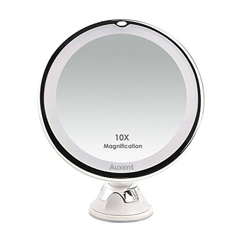Auxent-Miroir-de-maquillage-clairage-LED-grossissement-X10-miroir-cosmtique-clair-avec-ventouse-rotation–360-degrs-pour-maquillage-rasage-pilation-maison-ou-voyage-blanc-0