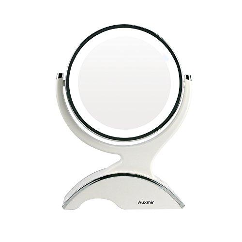 Auxmir-Miroir-Maquillage-10X-1X-Double-Face-LED-Miroir-Grossissant-avec-Rotation-360-Degrs-pour-Cosmtique-et-Soin-de-Peau-avec-Batterie-0