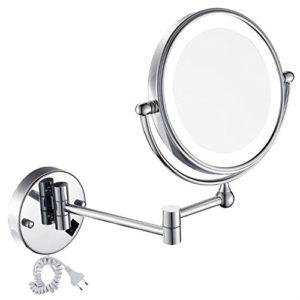 GURUN-8-Pouces-LED-Miroir-Mural-Grossissant-Lumineux-Extension-Pliant-Double-Face-avec-normale-et-Grossissant-x7-360-degres-rotation-1805D7X-0