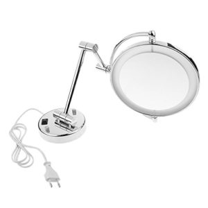 Sharplace-8-Pouces-LED-Miroir-Mural-Grossissant-3X5X7X-Lumineux-Extension-Pliant-360-Degrs-Rotation-Double-Face-pour-Maquillage-Rassage-EU-Finition-chrome-Grossissement-7x-0