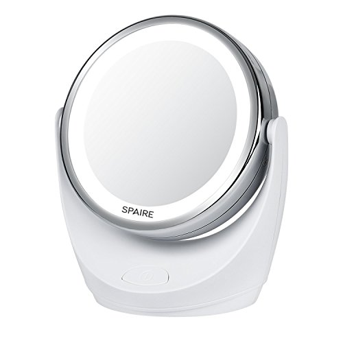 Spaire-Miroir-Maquillage-5X-1X-Double-Face-LED-Miroir-Grossissant-avec-Rotation-360-Degrs-pour-Cosmtique-et-Soin-de-Peau-avec-Batterie-0