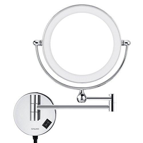 Achat spaire miroir salle de bain led 5x grossissant for Fixation miroir salle de bain