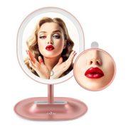 Anjou-Miroir-Maquillage-Lumineux-Rechargeable-avec-Amovible-5x-Miroir-Grossissant-Lumire--LED--Rglage-Tactile-Rotation--120-pour-Utilisation-sur-Comptoir-Or-Rose-0-0