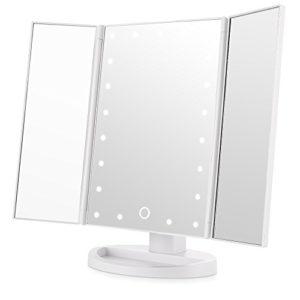 Easehold-Miroir-Maquillage-Miroir-Lumineux-Miroir-LED-Triple-Pliant-Miroir-de-Maquillage-Eclair-avec-21-LEDs-Rotation-de-180-degrs-Batterie-Charge-USB-Blanc-0
