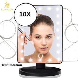 LUVODI-Miroir-Maquillage-lumineux-cran-tactile-22-LEDs-Lumire-Rglable-Makeup-Miroir-sur-Pied-Grossissant-X-10-pour-le-maquillage-le-rasage-et-les-soins-du-visage-Noir-0