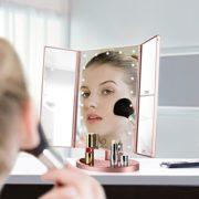 Spaire-Miroir-Maquillage-Cosmtique-21-LED-claires-Miroir-Lumire-Triple-de-Pliable-Grossissement-1X2X3X-Miroirs-LED-180Ajustable-Avec-Bouton-tactile-Batterie-cble-USB-0-0