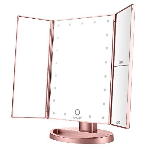 Spaire-Miroir-Maquillage-Cosmtique-21-LED-claires-Miroir-Lumire-Triple-de-Pliable-Grossissement-1X2X3X-Miroirs-LED-180Ajustable-Avec-Bouton-tactile-Batterie-cble-USB-0