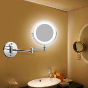 BATHWA-Miroirs-de-Maquillage-Mural-LED--deux-cts-de-Charge-par-Batterie-360--Horizontal-Pivotant-et-Vertical-Mtal-en-Chrom-Loupe-5x-et-Miroir-Plane-Ordinaire-0-0