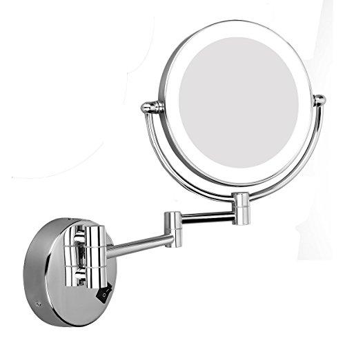 Excelvan-Miroirs-de-Maquillage-8-Pouces-10X-Miroir-Mural-Lumineux-LED-360-Miroir-de-Table-Miroir-de-Grossissement–Base-Ronde-Miroir-de-Courtoisie-Double-Face-0