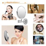 Finether-8-Pouces-Miroir-LED-Maquillage-Double-Face-10X-Magnification-Grossissement-360-Pivotant-Chrome-0-0