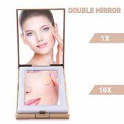 LONGKO-Miroir-de-Poche-LED-Lumineux-USB-Rechargeable-Grossissant-10X-Double-Face-HD-3-Modes-dEclairagelumire-FroideChaudeMixte-Miroir-de-Maquillage--Main-pour-Voyage-Carr-0-0