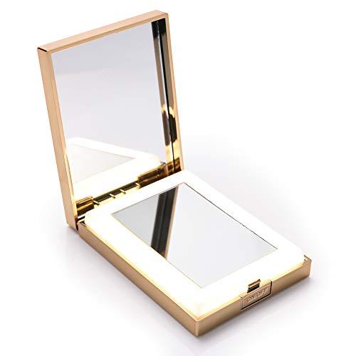 LONGKO-Miroir-de-Poche-LED-Lumineux-USB-Rechargeable-Grossissant-10X-Double-Face-HD-3-Modes-dEclairagelumire-FroideChaudeMixte-Miroir-de-Maquillage–Main-pour-Voyage-Carr-0