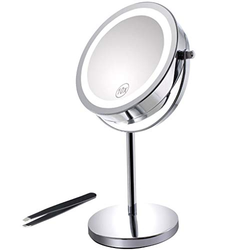 Miroir-Grossissant-Eclair-Miroir-Double-Face-de-7-de-Diamtre-avec-Eclairage-18-LED-Pied-Rotatif–360-Parfait-pour-le-Maquillage-lEpilation-des-Sourcils-votre-Coiffure-et-votre-Toilette-Pincettes–Sour-0