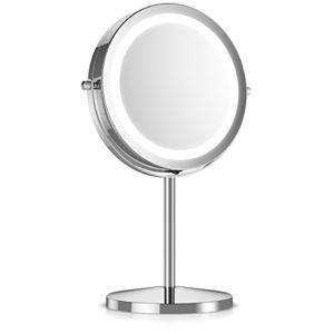 Navaris-Miroir-cosmtique-lumire-LED-Miroir--pied-normal-et-grossissant-x5-Miroir-rond-lumineux-salle-de-bain-pour-maquillage-Rotatif-360-0