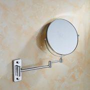 Auralum-Deluxe-Salle-de-bain-Miroir-Cosmtique-Mural-Orientable-Double-Face-avec-normale-et-Grossissant-x3-en-Laiton-Chrom-0-0