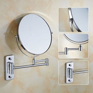 Auralum-Deluxe-Salle-de-bain-Miroir-Cosmtique-Mural-Orientable-Double-Face-avec-normale-et-Grossissant-x3-en-Laiton-Chrom-0