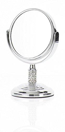 Danielle-Mini-miroir–pied-grossissant-x-4-avec-boule-en-verre-Chrome-85-cm-0
