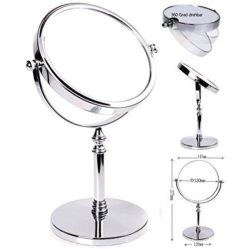 HIMRY-Miroir-Maquillage-5X-Grossissement–147-cm-Miroir-de-Table-Double-Visage-Miroir-de-salle-de-bain-Tournant-Miroir-de-Rasage-orientable-sur-360-chromage-KXD3106-5x-0
