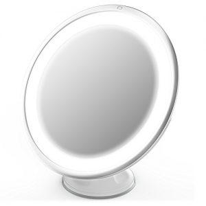 Jerrybox-Miroir-Rond-7X-Lumires-LED-Grossissant-Ajustable-Sans-Fil-Pliable-Ventouse-dAttache-Blanc-Miroir-de-Poche-BONUS-Cadeau-Idal-pour-Femmes-0