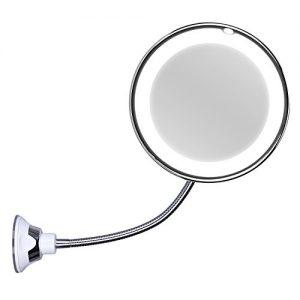 KEDSUM-Miroir-10-Grossissant-Led-Lumire115-pouces279cm-Extensible-Pliable-Lumineux-Ventouse-dAttache-Miroir-Mural-Miroir-de-Poche-Grossissement-Aliment-par-Piles-pour-Maquillage-Rasage-0