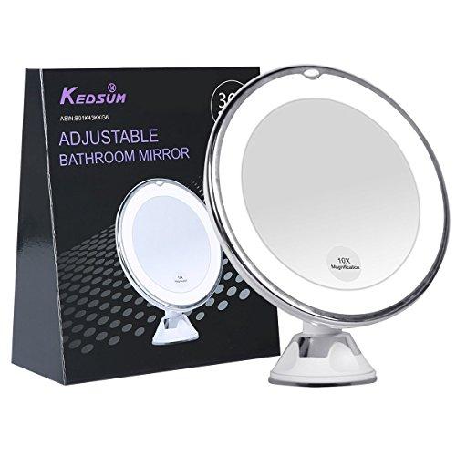KEDSUM-Miroir-Rond-Lumineux-10X-Grossissement-Lumires-LED-Ventouse-dAttache-360Rotation-Pliable-Rgable-Idal-pour-Maquillage-Nettoyage-Rasage-Miroir-de-poche-0