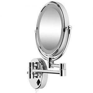 SODIALR-8-Pouces-LED-Miroir-Mural-Grossissant-Lumineux-Extension-Pliant-Double-Face-avec-normale-et-Grossissant-x5-360-degres-rotation-avec-prise-UE-0