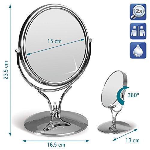 Tatkraft-Aphrodite-Miroir-Cosmetique-sur-Pied-Double-Face-D-15cm-0