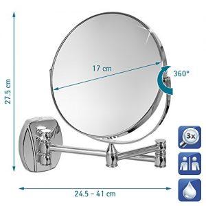 Tatkraft-Izolde-Miroir-Telescopique-Mural-Double-Face-Bras-Pliable-3X-Grossissante-Acier-Chrome-d-17cm-0