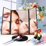 Leeron-Miroir-LED-Maquillage-Miroir-Lumineux--Grossissement-X1-X2-X3-Triple-Pliant-de-Table-cran-Tactile-22-LEDs-180-Degrs-de-Rotation-pour-la-Beaut-le-Chambre-pour-Saint-Valentin-Noir-0-0