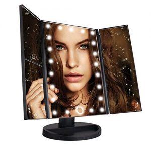 Leeron-Miroir-LED-Maquillage-Miroir-Lumineux--Grossissement-X1-X2-X3-Triple-Pliant-de-Table-cran-Tactile-22-LEDs-180-Degrs-de-Rotation-pour-la-Beaut-le-Chambre-pour-Saint-Valentin-Noir-0