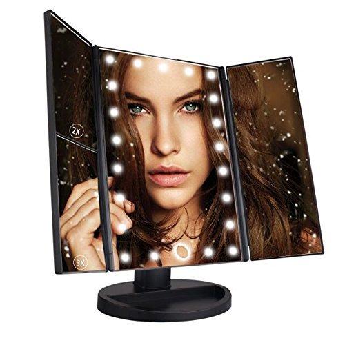 Leeron-Miroir-LED-Maquillage-Miroir-Lumineux–Grossissement-X1-X2-X3-Triple-Pliant-de-Table-cran-Tactile-22-LEDs-180-Degrs-de-Rotation-pour-la-Beaut-le-Chambre-pour-Saint-Valentin-Noir-0