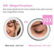 Beautural-Miroir-de-Maquillage-Grossissant-Lumineux-10x-LED-avec-1-Joint--Bille-et-Ventouse-360-Rotation-Ajustable-Fonctionne-avec-des-Piles-0-0