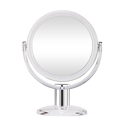 Gotofine-Miroir-de-Maquillage-10-x-Grossissement-Miroir-de-Table-Doubleface-Muni-dun-Pied-avec-Rotation–360-Degrs-Clair-et-Transparent-0