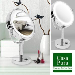 Miroir-sur-pied-casa-pura-avec-LED-3-degrs-de-grossissement-au-choix-360-rotation-rglable-en-hauteur-grossissement-7x-0