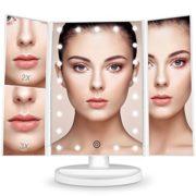 BESTOPE-Miroir-Maquillage-Cosmtique-21-LED-claires-Miroir-Lumire-Triple-de-Pliable-Grossissement-1X2X3X-Miroirs-LED-180Ajustable-Avec-Bouton-tactile-Batterie-cble-USB-0